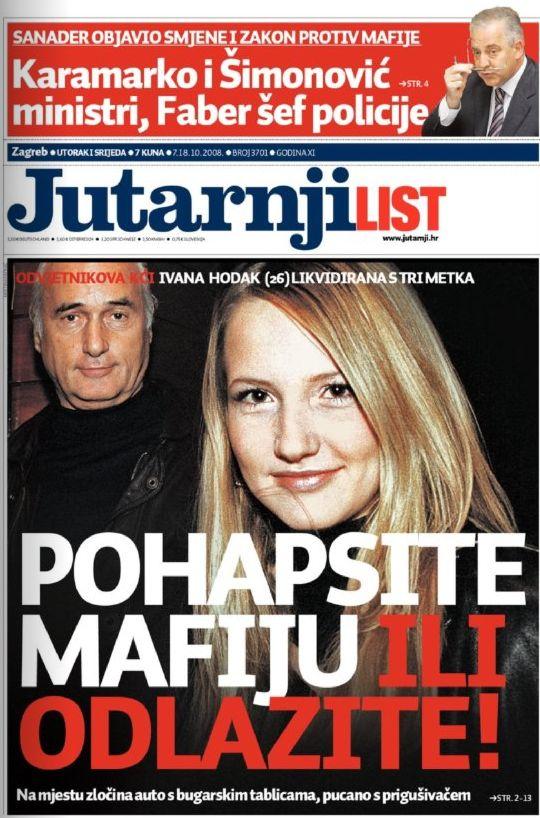 Naslovnica Jutarnji list Ivo Sanader Ivana Hodak