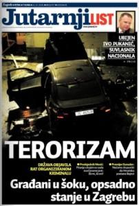Naslovnica Jutarnjeg lista Terorizam