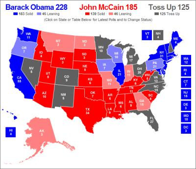 Obama vc McCain by states